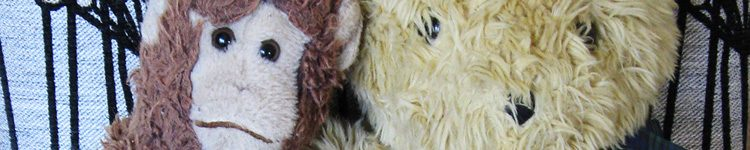 Close-up of the faces of a soft toy monkey and teddy bear