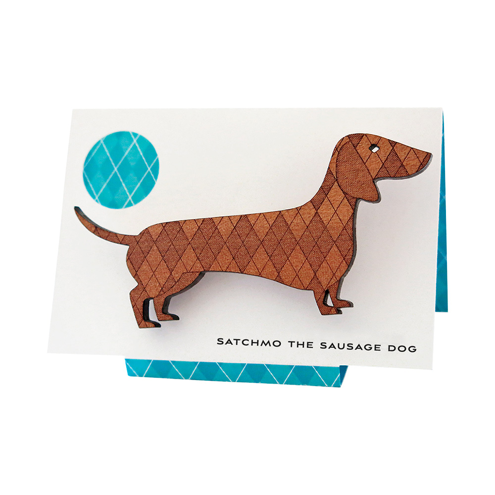 Satchmo the Sausage Dog brooch in Tasmanian Myrtle veneer.