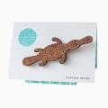 Captain Retro Platypus brooch in myrtle wood veneer