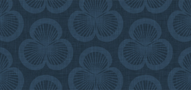 Close-up of the iPhone Wallpaper, Clamshells pattern in a dark blue colourway.