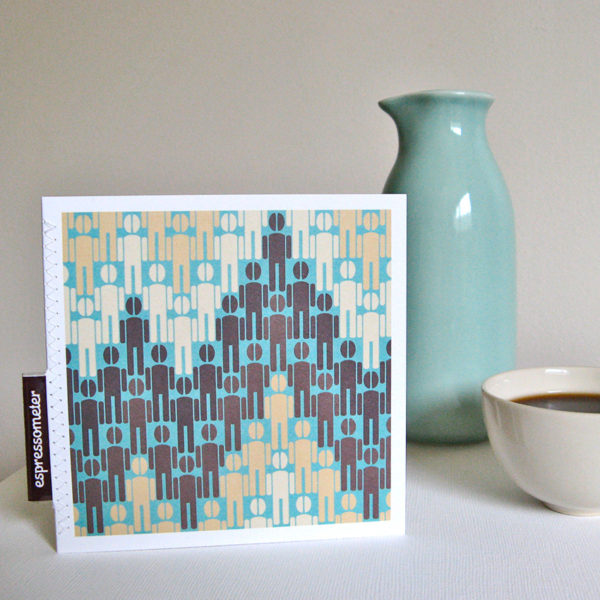 quirky greeting card for caffeine adicts: men with coffee-bean heads in a pattern resembling the accelerated heart rate on an ECG machine