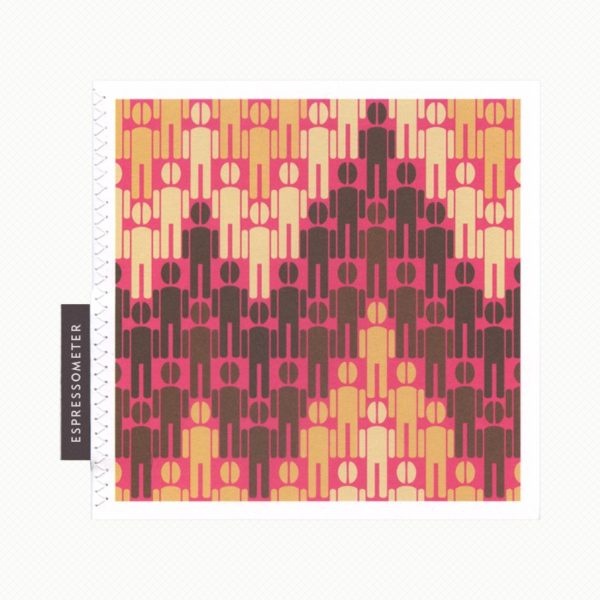 Greeting card for caffeine addicts: men with coffee-bean heads in a pattern resembling the accelerated heart rate on an ECG machine in hot pink and coffee colours