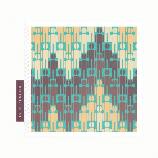 Greeting card for coffee lovers: men with coffee-bean heads in a pattern resembling the accelerated heart rate on an ECG machine in turquoise and coffee colours