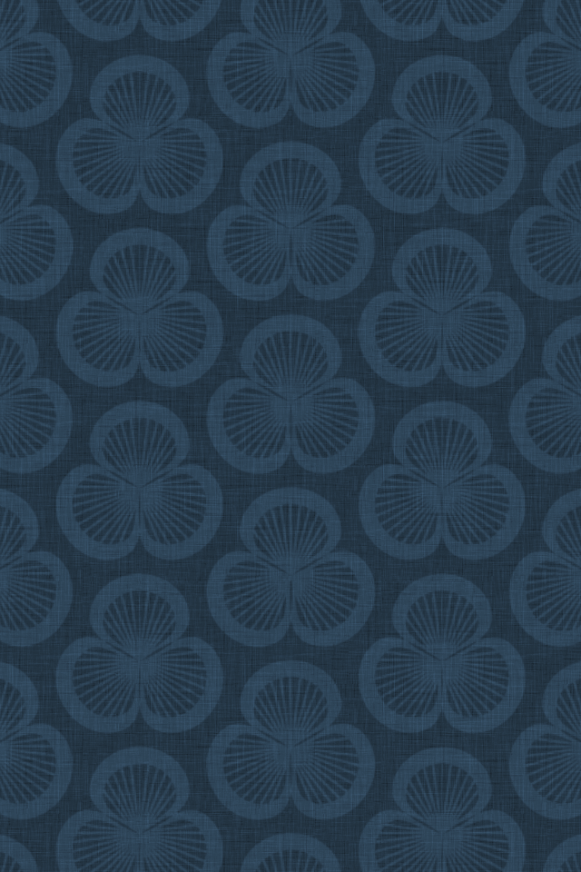 patterned wallpaper for iPhone 4S - Clamshells pattern of shells rotated in groups of three, in the Ink colourway