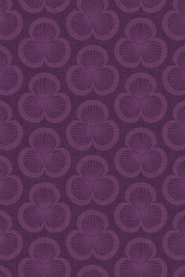 patterned wallpaper for iPhone 4S - Clamshells pattern of shells rotated in groups of three, in the Violet colourway