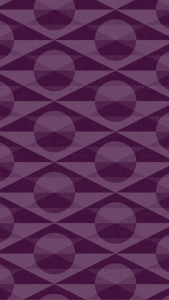 geometric, patterned wallpaper for iPhone 5 - Deco pattern of overlapping circles and triangles in the Eggplant colourway