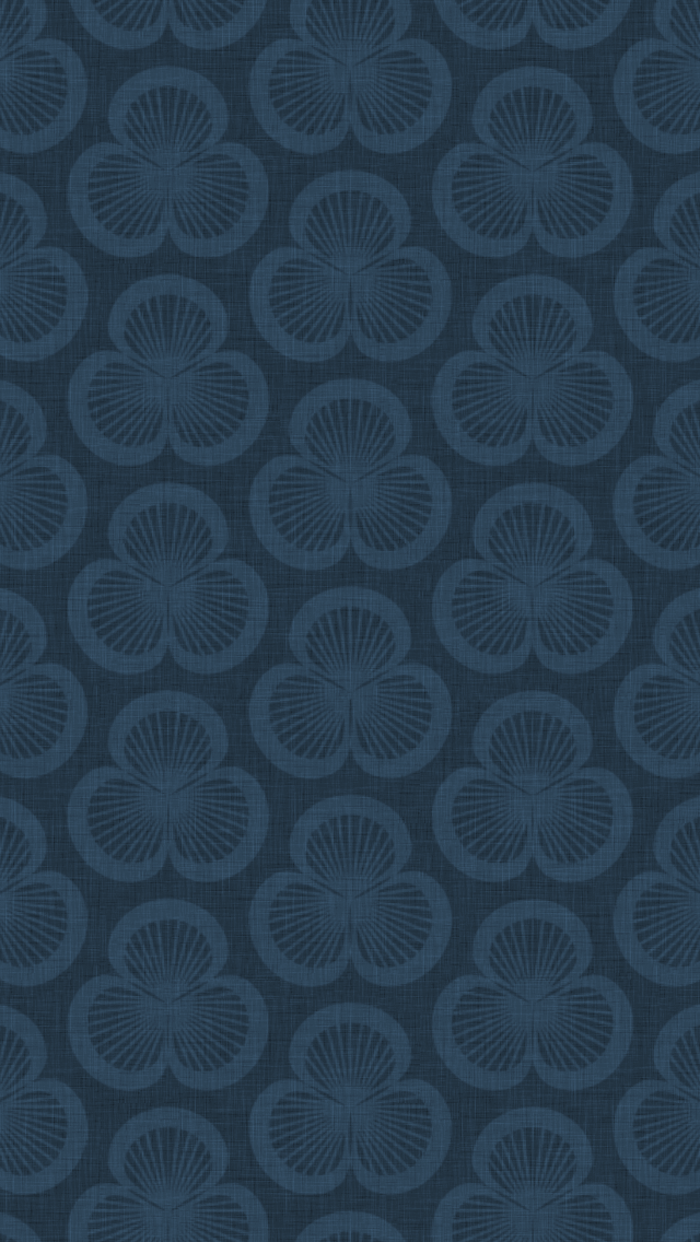 dark, patterned wallpaper for iPhone 5 - Clamshells pattern of shells rotated in groups of three, in the Ink colourway