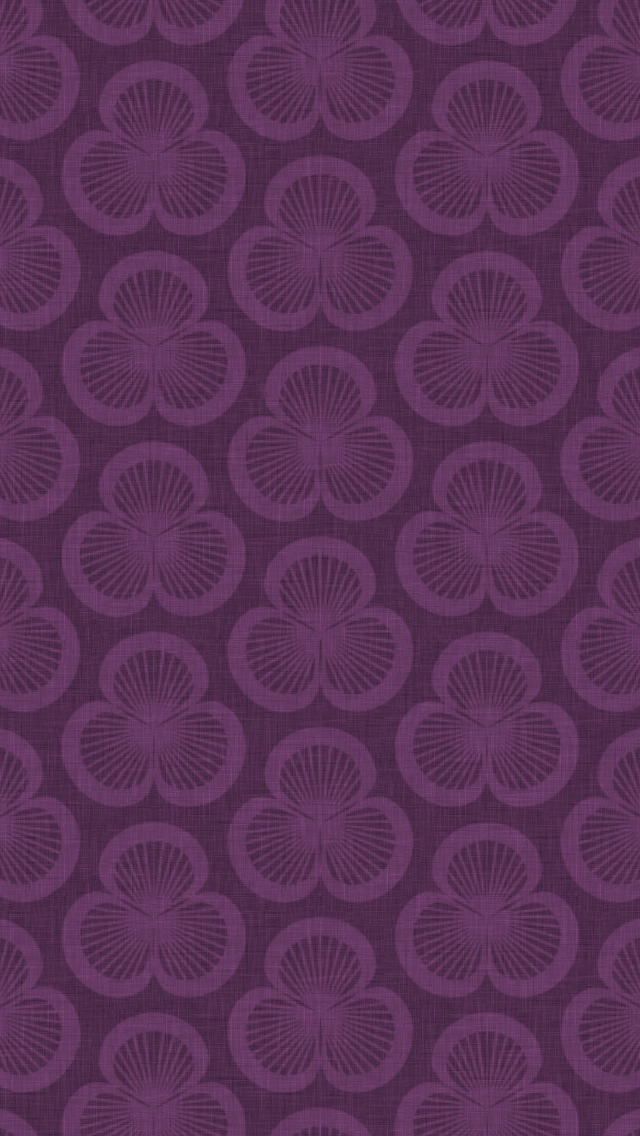 dark, patterned wallpaper for iPhone 5 - Clamshells pattern of shells rotated in groups of three, in the Violet colourway