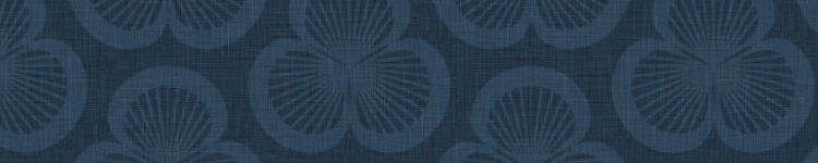 Close-up of a pattern of three rotated clamshells to form a floral shape, in deep inky blue with a linen background