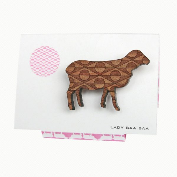Sheep brooch in Tasmanian Myrtle wood with a delicate laser-engraved geometric art-deco pattern.