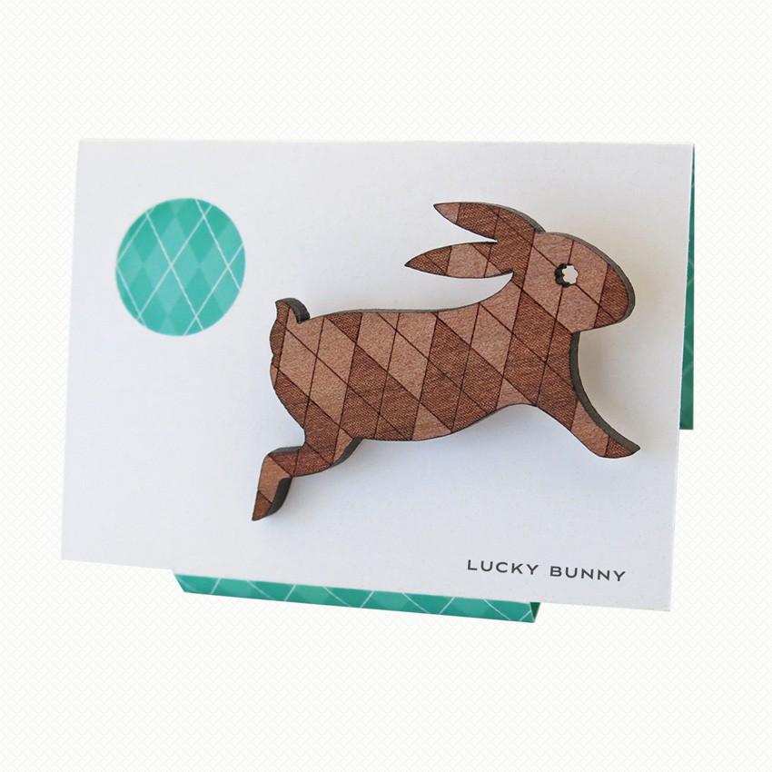 Lucky Bunny brooch in Tasmanian myrtle