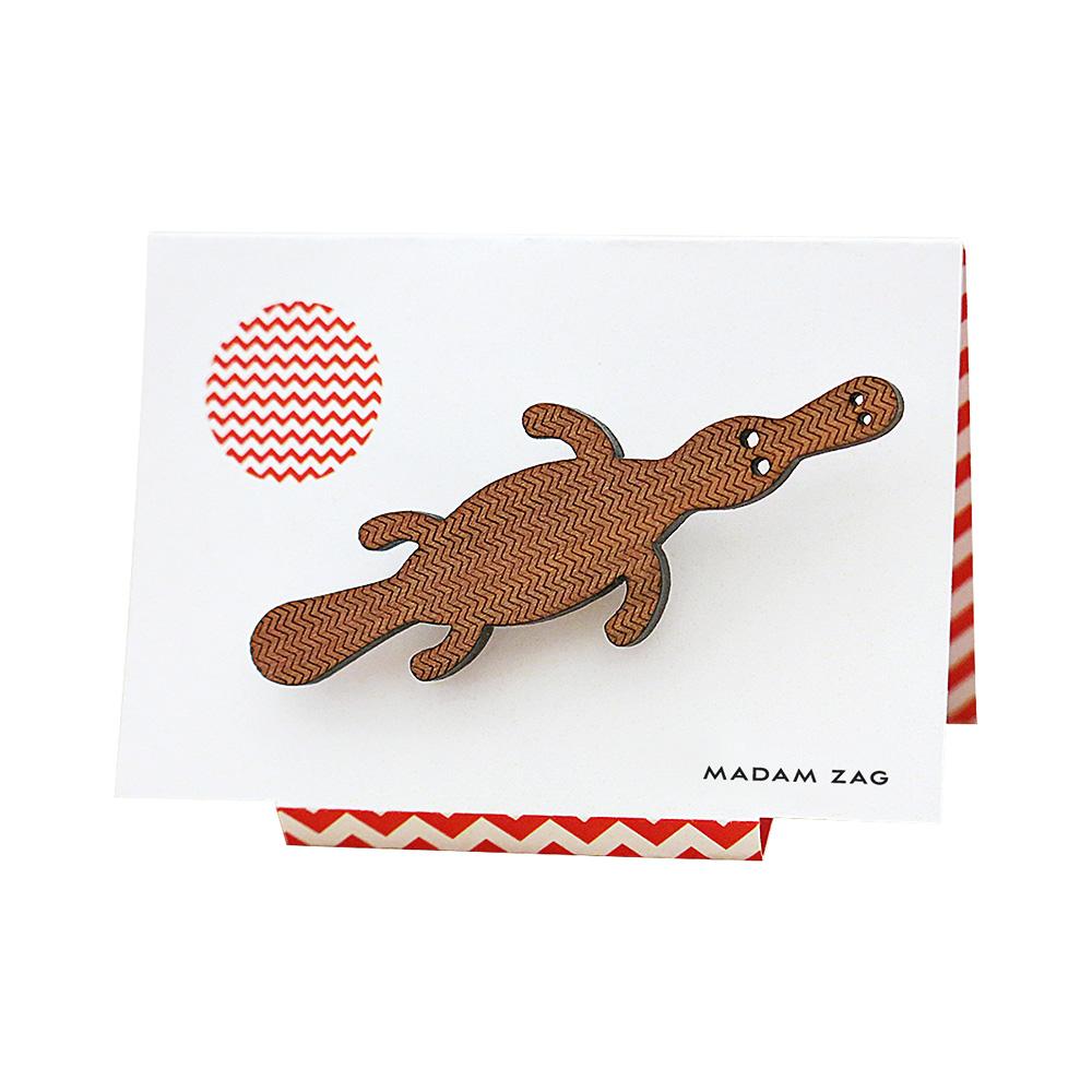 Madam Zag Platypus brooch in myrtle wood veneer