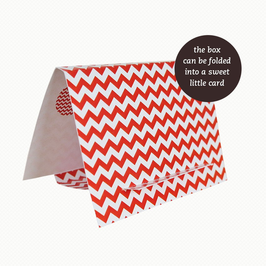 The brooch gift box for Madam Zag Platypus can be folded out into an easel card with a red and white chevron pattern.