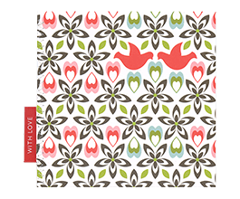 Sweet greeting card featuring two red kissing doves amid a repeating pattern of abstract flowers and leaves