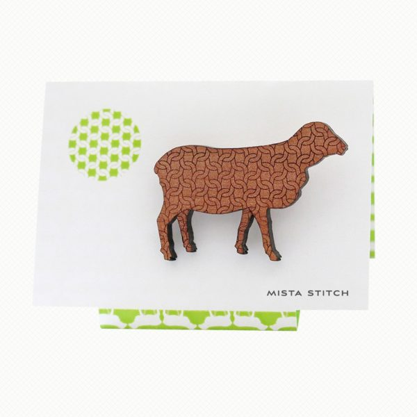 Sheep brooch in Tasmanian Myrtle wood with a delicate laser-engraved chunky knit pattern.