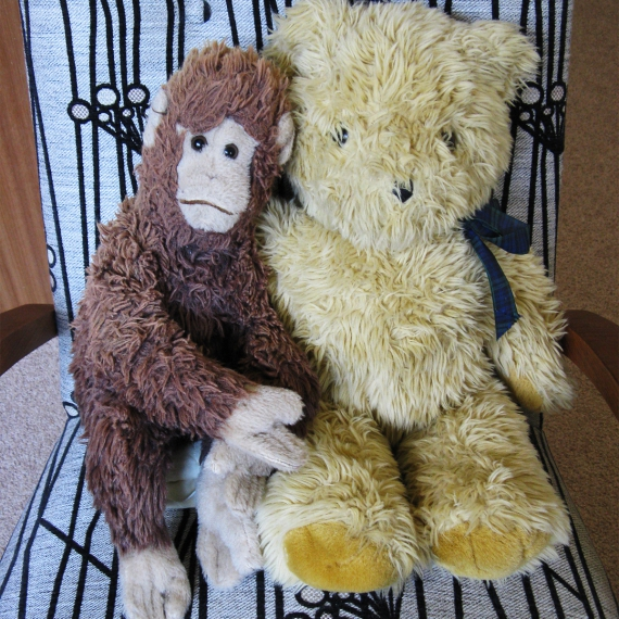 Monkey and Tedward, my two soft toy monkey and teddy bear, on an armchair upholstered in Warwick fabric