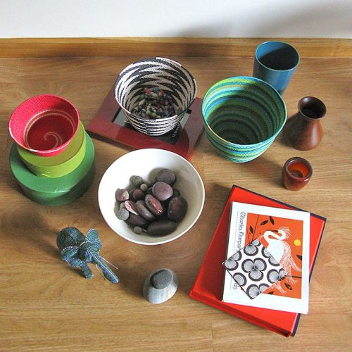 A small collection of vases, baskets, bowls and ornaments for use as props in photo-shoots of my tabbed greeting cards.