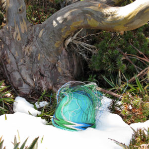 The early stages of a telephone-wire basket in progress, in front of a Snowgum and surrounded by snow and pineapple grass, on the slopes of Mt Rufus, Tasmania.