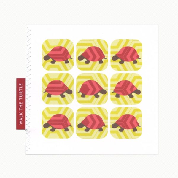Walk the turtle greeting card. Turtles against a hexagon patterned background in raspberry red and deep lemon yellow.