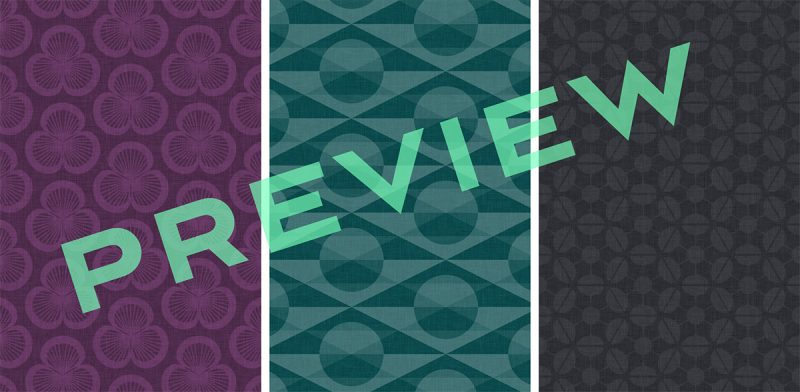 Preview of three retro-inspired, patterned wallpapers for iPhone 4S and iPhone 5 in the violet, teal and charcoal colourways