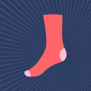 SockShine icon with a red-orange sock against a midnight blue background.
