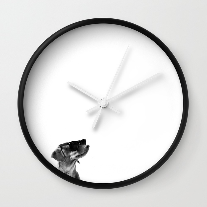 Wall clock with minimalist black and white image of dachshund in sunglasses by BarnaBaby on Society6