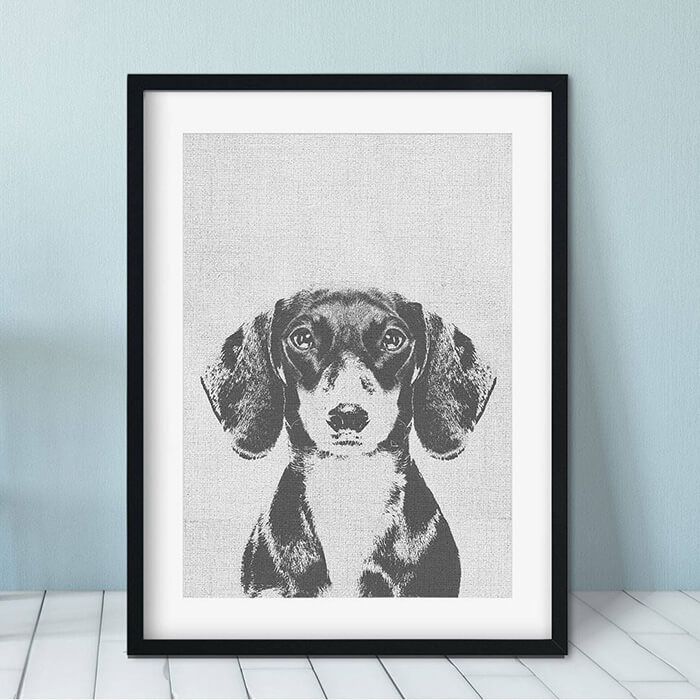 Modern black and white Dachshund art print by Everything the Dog and Co on Etsy