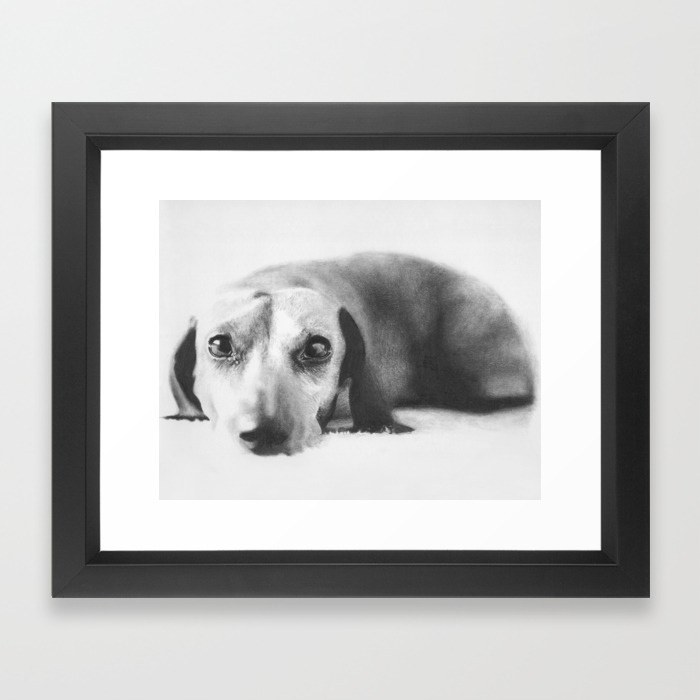 Dachshund framed art print by Onlypencil on Society6.