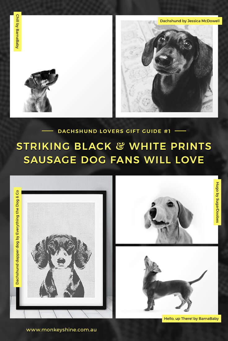 A collection of minimalist black and white art prints for wiener dog lovers