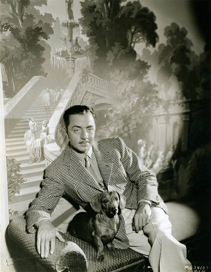 Poster of Hollywood movie star William Powell with a dachshund, from PrimadonnaPrints on Etsy.