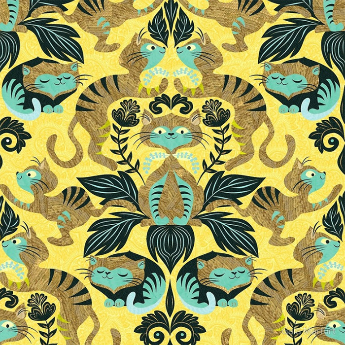 Yellow damask cats pattern by Gaiai Marfurt